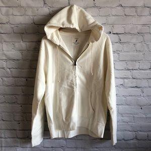 J Crew | Off White Zip Up Hooded Sweatshirt sz L
